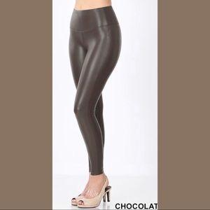 Chocolate Vegan Leather Leggings